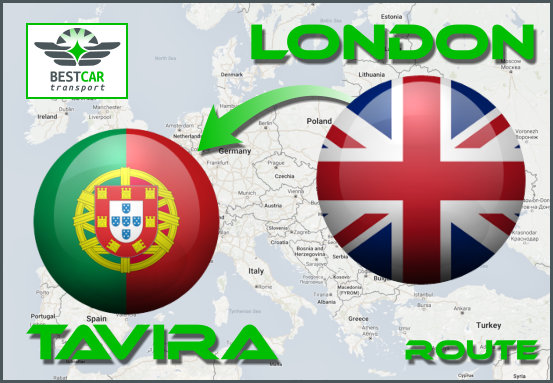 Car Transport Form London to Tavira