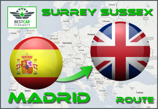 Car Transport From Madrid to Surrey Sussex