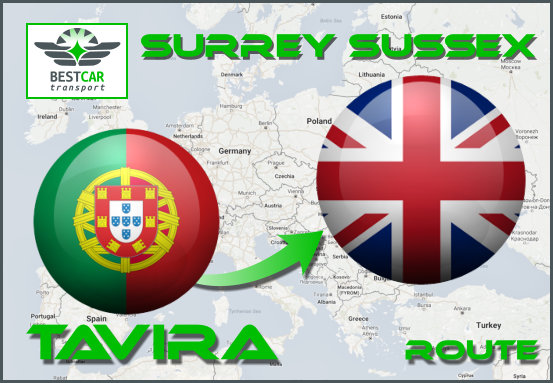 Car Transport Form Tavira to Surrey Sussex