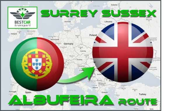 Car Transport From Albufeira to Surrey Sussex
