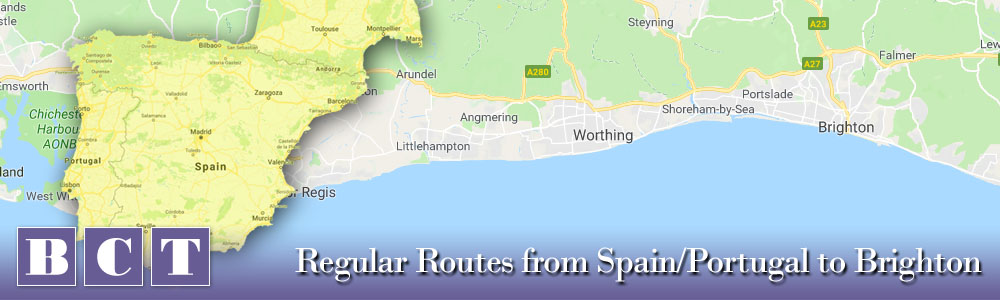To Brighton - Best Car Transport services from Spain & Portugal to Brighton and Surrounding Area