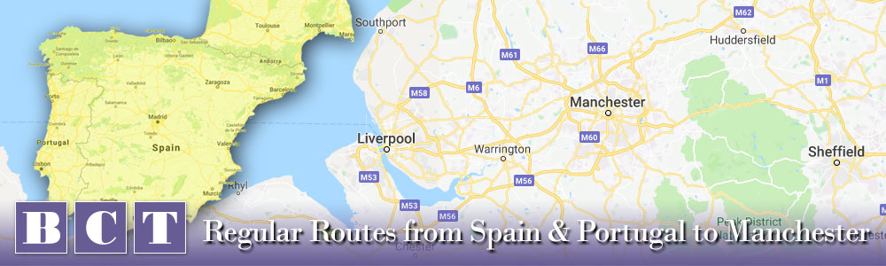 To Manchester - Best Car Transport services from Spain & Portugal to the greater Manchester area